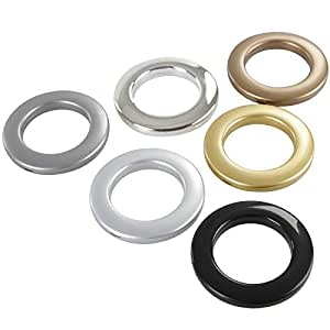 Miadomodo Set di anelli per tenda a bastone di plastica colore argento opaco set da 20