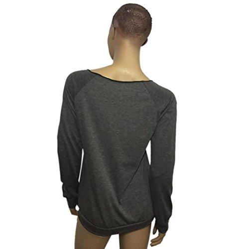 Sannysis Frauen Pfeil Druck Lange Hülsen T-Shirt Bluse Pullover Grau