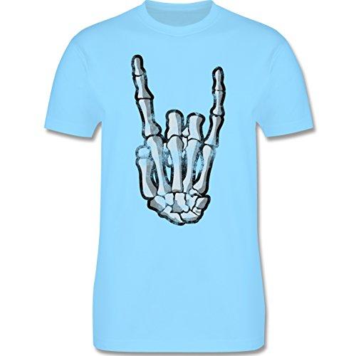 Metal - Metal Horns Skelett Hand - Herren Premium T-Shirt Hellblau