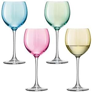 LSA International - Verres à vins assortis Polka 400 ml, couleur pastel (lot de 4)