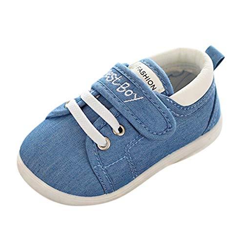 HDUFGJ Kinder Jungen Mädchen Sneaker Klettverschluss Wanderschuhe Atmungsaktiv Laufschuhe Outdoor Klettverschluss Wanderschuhe Sport Sneaker Turnschuhe Hallenschuhe Schuhe25 EU(Blau)
