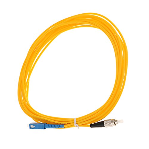 MagiDeal SC Zu FC Singlemode Single Core Faser Optische Patchkabel Simplex Fiber Jumper Glasfaserleiter LWL-Kabel Lichtwellenleiter - Gelb 5 Meter -