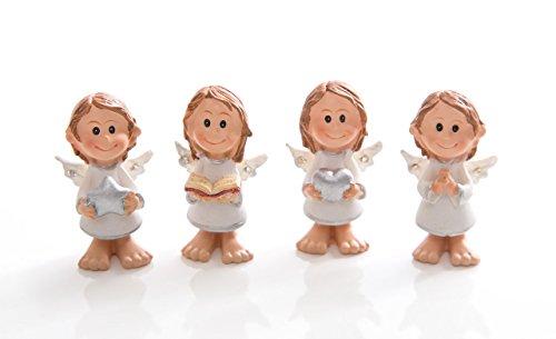 12 Stück kleine Mini-Schutzengel Engel Engelfiguren mit 4,5 cm als Tisch-Dekoration zur Kommunion, Weihnachten, Firmung, Taufe oder als Mitgebsel Gastgeschenk give-away oder kleines Geschenk an liebe Menschen. Sehr gute Qualität!