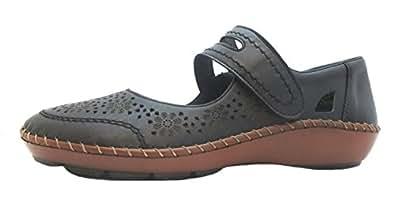 Rieker  44875-00, Chaussures de ville à lacets pour femme Noir noir - Noir - noir, 41