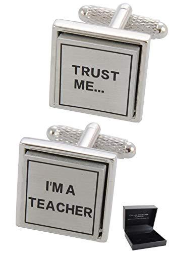 COLLAR AND CUFFS LONDON - HOCHWERTIGE Manschettenknöpfe mit Geschenk Box - Trust Me I'm a Teacher - Stilvolle Messing - Schule Universität Bildung Lehrer - Silber Farbe