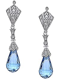 Bling Jewelry CZ Briolette Color Aguamarina Cuelgue Arete de Plata Esterlina 925