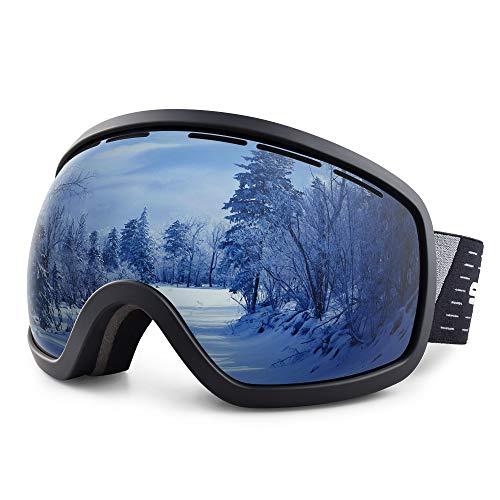 Snowledge Skibrille Damen und Herren Snowboardbrille OTG Anti Beschlag Schneebrille UV Schutz Verspiegelt Doppel Linse Sportbrille Schutzbrille Wintersport Skifahren Ski Brille Skilanglauf Windbrille