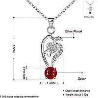 Mode Silber Romantische Rose mit Roten Zirkon Halskette Eingelegt , Silber