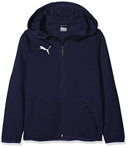 PUMA Kinder Liga Casuals Hoody Jacket Jr Jacke, Peacoat White, 164