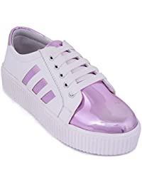 Trendy Look Pink & White Sneakers For Women's