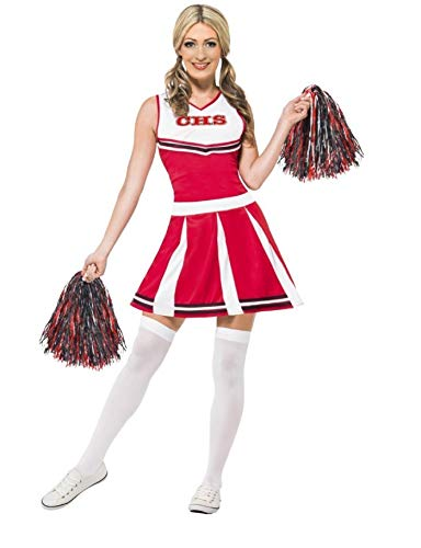 GGT Boutique Ladies fancy dress cheer leader costume with pom poms (M ()