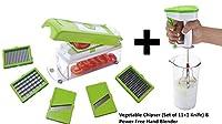 AD Passion Vegetable Cutter- Chopper, Chipser, Grater, Slicer Dicer All in One (Set of 11+1 Knife) & Power Free Hand Blender (Green) (Set of 2)