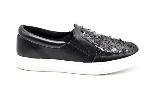 SHY28 * Baskets Tennis Sneakers Slip-On Simili Cuir Vernis avec Sequins Brillants et Semelle Compensée - Mode Femme Noir