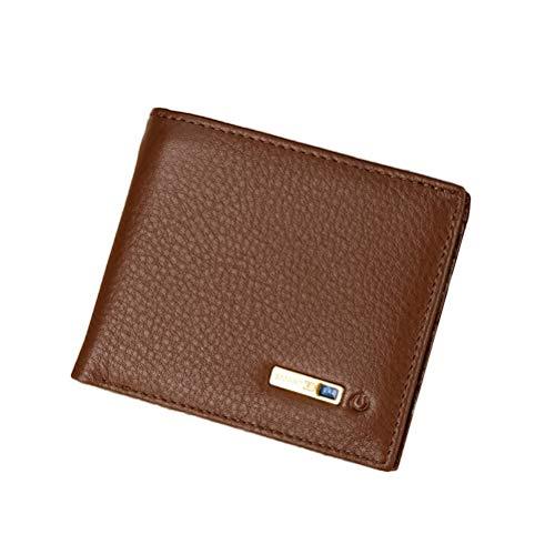 FENICAL Smart Wallet mit GPS Tracker Echtleder Geldbörse Geldbeutel Bluetooth Anti Verloren RFID Bifold Brieftasche Kartenhalter für Männer (braun)
