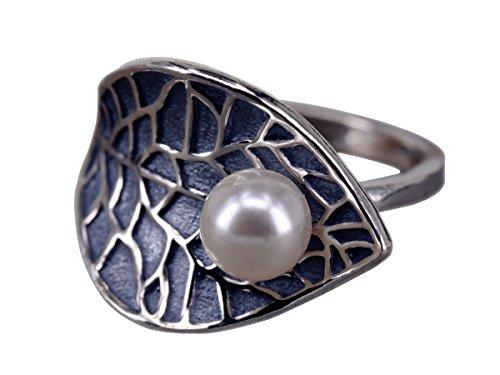 NicoWerk Silberring VINTAGE Blatt Perle Ring Silber 925 Verstellbar Damenringe Damen Schmuck SRI169