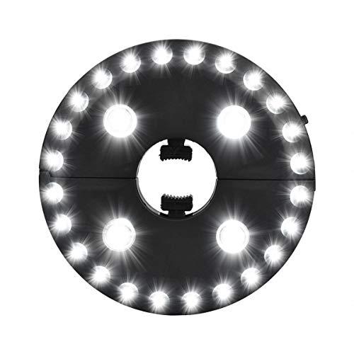 Noodei Patio Umbrella Light INKEER 3 Lichtmodi Schnurlose 28 LED-Lichter bei 200 Lux - 4 x AA-Batteriebetrieb, Umbrella Pole Light für Patio-Regenschirme, Campingzelte oder den Außenbereich Beleuchtun -
