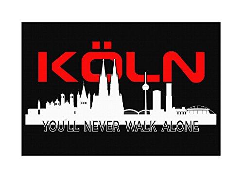 Köln Skyline Premium Leinwand | Keilrahmen Bild Gemälde Wandbild