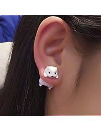 SMXGF TTPAIAI 30 de la Arcilla del polímero Linda Campo de ratón Blanco Pendientes for Las Mujeres de Moda Las niñas Hecha a Mano 3D Kawaii Animal Pendiente del Perno Regalo de los niños