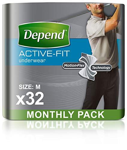 Depend Real Fit - Pantalones de Incontinencia para Hombres, Absorbencia Máxima, M, 32...