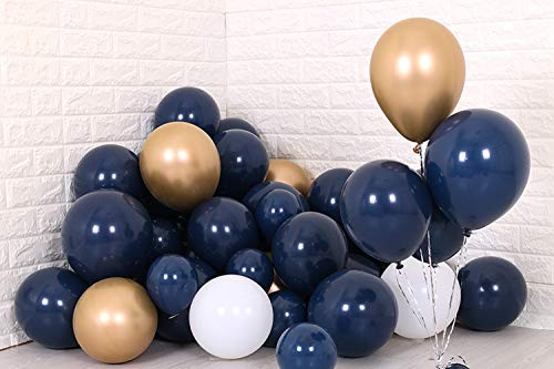 Erosion Marine Gold Ballons, 30 Stück 12 Zoll Marineblau Ballons Matt weiße Ballons Gold Metallic Ballons, Navy und Gold Partydekorationen, Navy Geburtstag Dekorationen