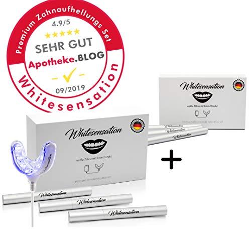 Whitesensation Zahnaufhellungs Set + Nachfüll Set [SPARPAKET] Professionelles Bleaching für weiße Zähne - Teeth Whitening Kit - Homebleaching - Geld zurück Garantie - Zahnweiß