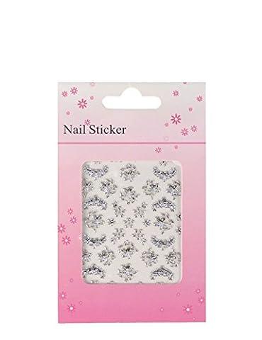 NDED 3D Nailart Sticker selbstklebend - Nagelsticker Silber und Gold - Nail Art Sticker - Nagel Deko Aufkleber, Hochzeitsblumen, silber