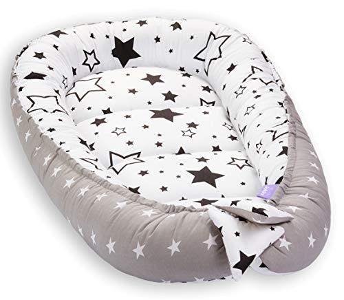 Kissen Weiche Matratze (Solvera_Ltd Babynest 2seitig Kokon öko Babybett Nestchen für Neugeborene 100% Baumwolle Kuschelnest Weiches und sicheres Baby-Reisebett (50x90) (Milky Way/Schwarz))