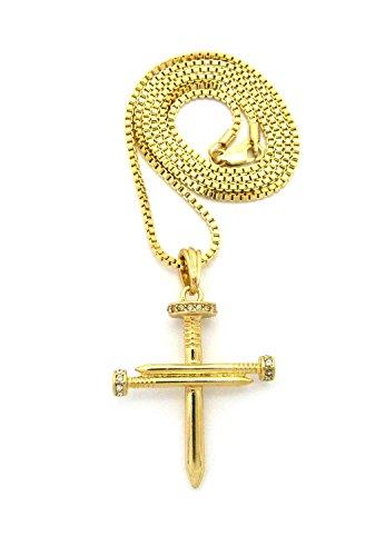 Halskette in Goldton mit reversiblem Kreuz Anhänger aus strassbesetzten Nägeln mit 2mm 61cm Box Kette (Kreuz 3 Nageln)