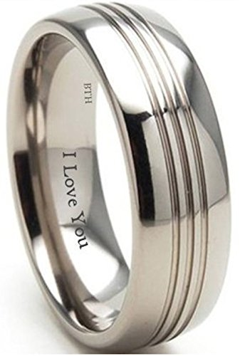Mens Titanium Ring-8mm Engraved With I Love You Classic Unisex Wedding Engagement Comfort Fit Band Ring