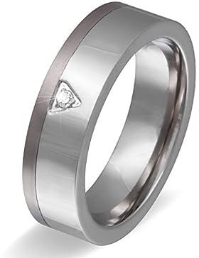Titan trifft auf Edelstahl ! Hochzeitsring, Ehering, Verlobungsring mit Stein