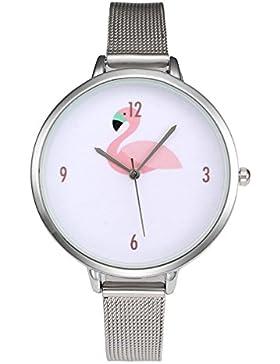 Souarts Damen Armbanduhr Einfach Mesh Metallarmband Flamingo Muster Casual Analoge Quarz Uhr Gold farbe