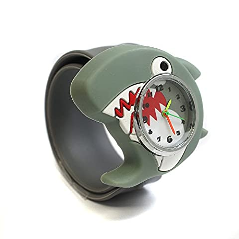 Shark Sealife PopWatch Slapwatch Learn To Tell The Time Fun Friendly Character Kids Easy Fit Silicone Quartz