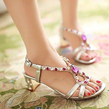 LvYuan Sandali-Formale Casual Serata e festa-Club Shoes-Quadrato-PU (Poliuretano)-Argento Dorato Gold