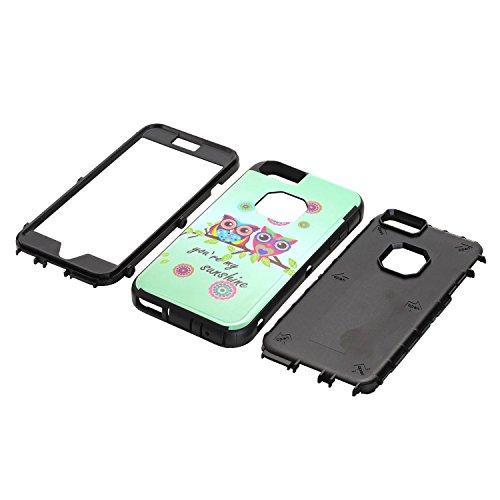 6s Plus Cas, iphone 6 Plus Couverture, Lantier Owls de Sunshine [Hybrid 3 en 1 Impact, résistant aux chocs de protection] silicone et en plastique Defender Heavy Duty Armure Combo Case pour Apple ipho Sunshine Hot Pink