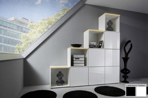 Dreams4Home Regal / Raumteiler Square Regalsystem weiß o schwarz hochglanz LED-RGB-Beleuchtung, Beleuchtung:mit Beleuchtung;Farbe:Weiß