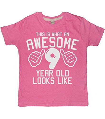 ome 9Jahr alt aussieht, Bubblegum Pink Mädchen 9. Geburtstag T-Shirt mit einem weiß Glitterdruck. Edward Sinclair T-Shirt. Gr. One size, bubblegum pink ()
