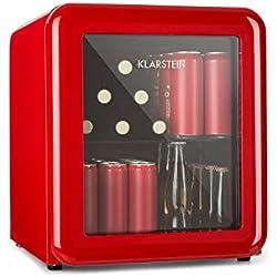 Klarstein PopLife Réfrigérateur à boisson - Minibar, Réfrigérateur rétro, 0-10°C, seulement 39 dB, Écologique, Porte à double vitrage, Design rétro, Rouge