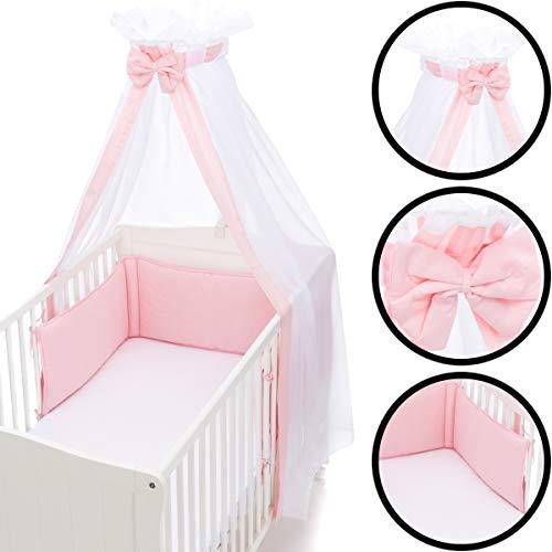 Babybett Umrandung Nestchen und Betthimmel Schleier im Set 100% Baumwolle (ROSA)