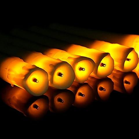 12er Led Kerzen Bernstein Batterie Betrieben Spitzkerzen für Mittelstücke Hochzeit Dekoration