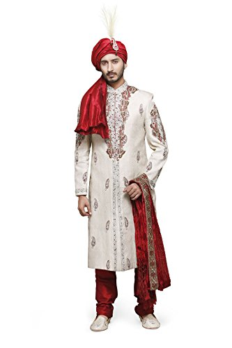 Azio Design Mens Brocade Sherwani -Gold (Large)