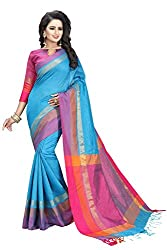 Bhuwal Fashion Womens Cotton Silk Saree with Blouse(231_Skyblue)