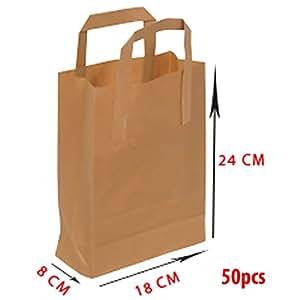 Sacchetti di carta - Sacchetto in carta - Manico Piatto - 18 x 8 x 24 - 70 gsm - 50 pezzi - Carta kraft marrone - Non stampato - % 100 riciclabile