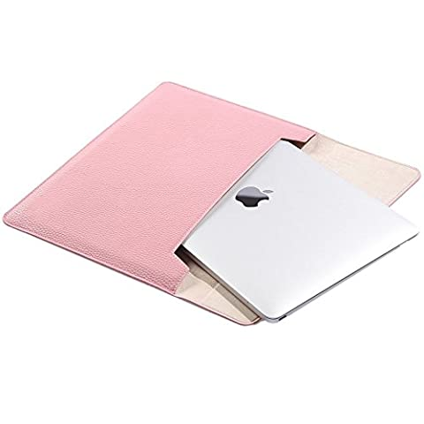 Simtyso MacBook air MacBook Pro iPad Air2 12 zoll hülle leder tasche sleeve case PU Leather Laptop Case Protective Carrying Hüllen Bag Case Cover Shell (12 Zoll, Pink)