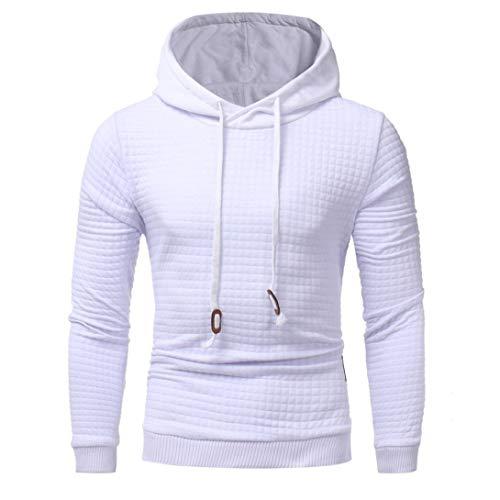 UJUNAOR Männer Langarm Hoodie Kapuzen Sweatshirt Tops Jacke Mantel Outwear M bis XXXL(XL,Weiß)