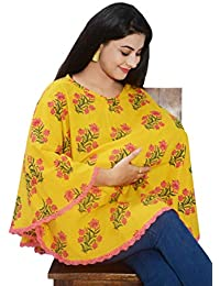 Mum's Caress Premium Cotton Nursing Covers/Feeding Cover/Maternity Top/Baby Cover/Poncho - Yellow Floral
