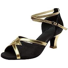 Darringls_Sandalias de Primavera Verano Mujer,Zapatos de Baile Latino de Tacón Alto/Medio para
