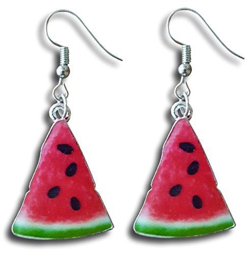 Wassermelone Slice Emaille baumeln Charme baumeln Ohrringe von pashal (Gold Disc Baumeln Ohrringe)