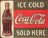 Coca Cola 1299 Wandplakette/Blechschild, Retro-/Vintage-Stil, Aufschrift