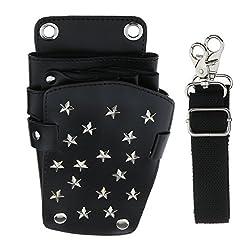 Segolike Lightweight Travel Barber Holster Holder Hair Scissors Pouch Hair Cutting Tool Bag Leather Shoulder Belt - black