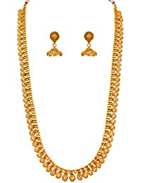 Jfl - Jewellery For Less Traditional Ethnic One Gram Gold Plated Long Necklace Set With Earrings For Women